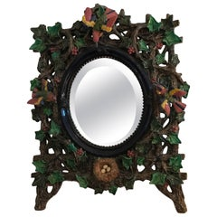 Majolica Mirror by Hugo Lonitz Germany, 19th Century