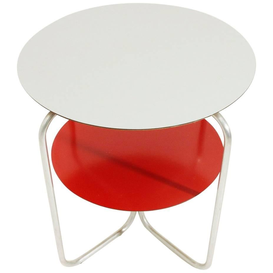 Italian Round Colored Laminate Tops Side Table, 1960s For Sale
