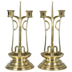 Pair of Austrian Brass Candelabra