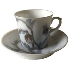 Royal Copenhagen Art Nouveau Mocha Cup and Saucer Unique Signed by Oluf Jensen