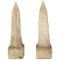Pair of Concrete Garden Obelisks
