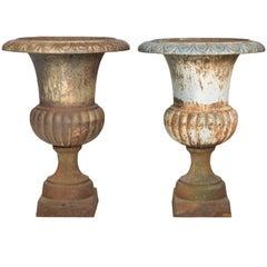 Pair of Classical Iron Garden Urns