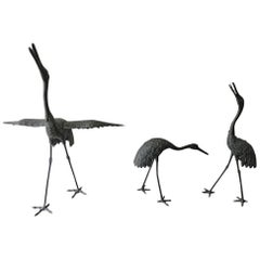 Japan Three Hand Cast Bronze Cranes Beautiful Antiques and Feather Details