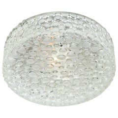 Vintage German Dotted Glass Flush Mount Light