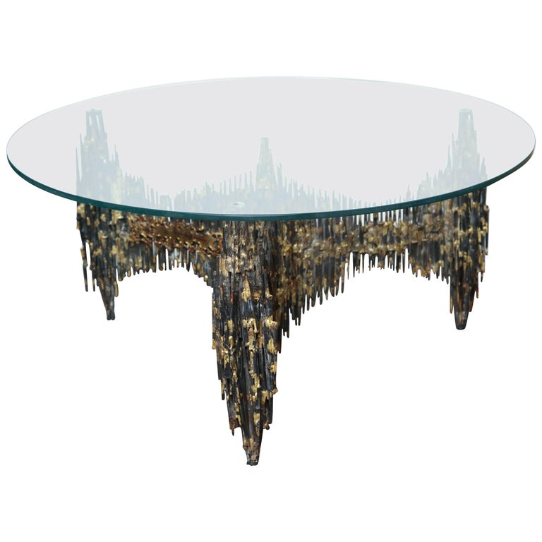 """Signed and Dated """"Edward Garfinkle, 1971"""" Brutalist Cocktail Table For Sale"""