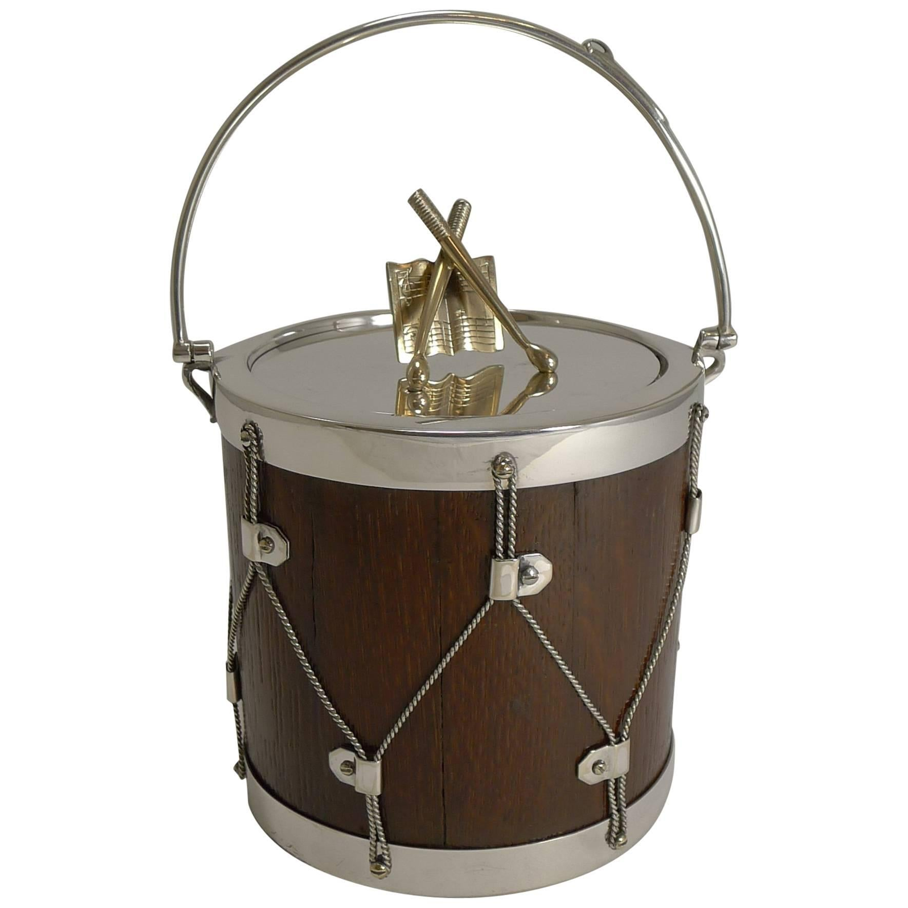 Antique English Oak & Silver Plated Drum Form Biscuit Box or Barrel, circa 1890