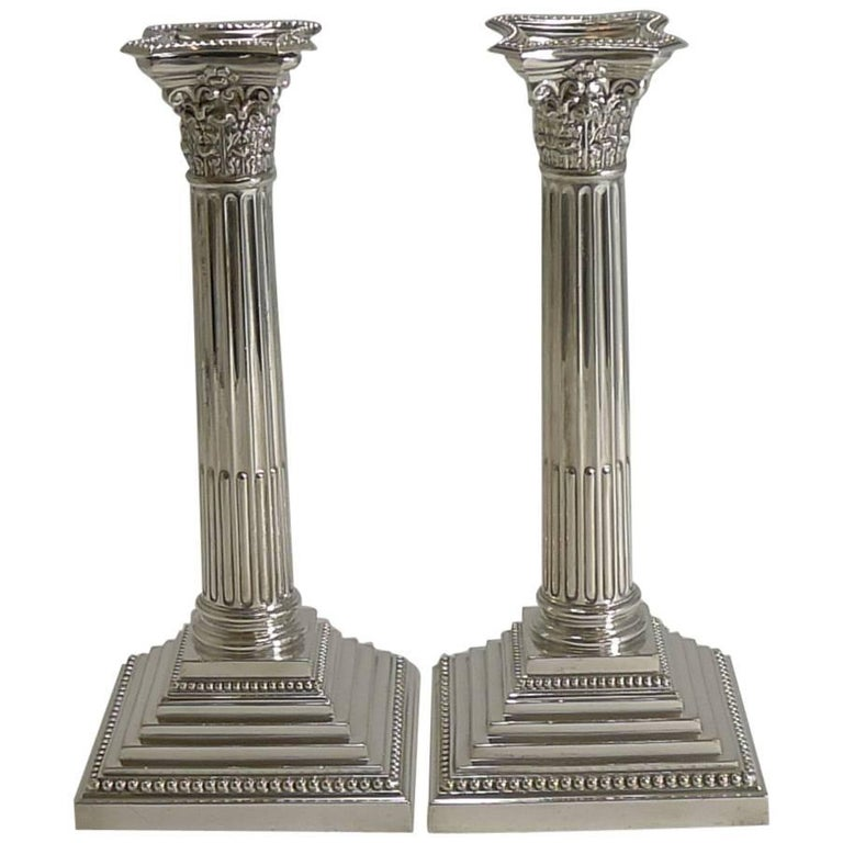 Classic Pair of Silver Plate Corinthian Column Candlesticks by Elkington, 1929