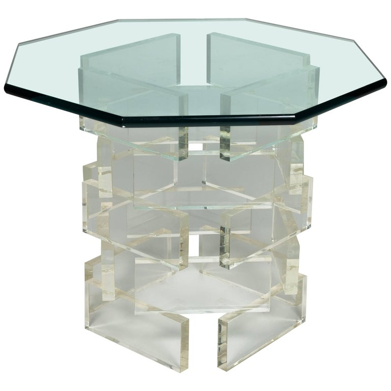 1980s Lucite Brick Side Table