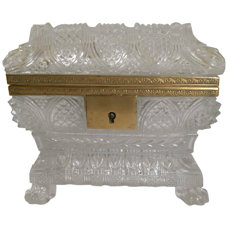 Rare Highly Cut Baccarat Jewelry Casket / Box, circa 1860 For Sale