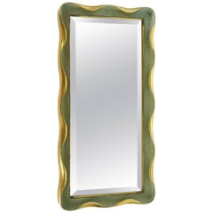 Italian Golden & Painted Wood 1940s Wall Mirror Attributed to Giovanni Gariboldi
