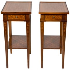 Pair of Petite Italian Two-Tier Marquetry Side Tables