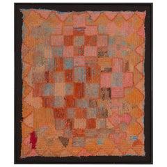 Moroccan Berber Handmade Tapestry, Orange Brown and Beige Colors, Mixed Fabrics