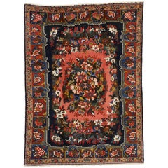 Victorian Style Vintage Persian Bakhtiari Rug with Floral Design Pearl Border