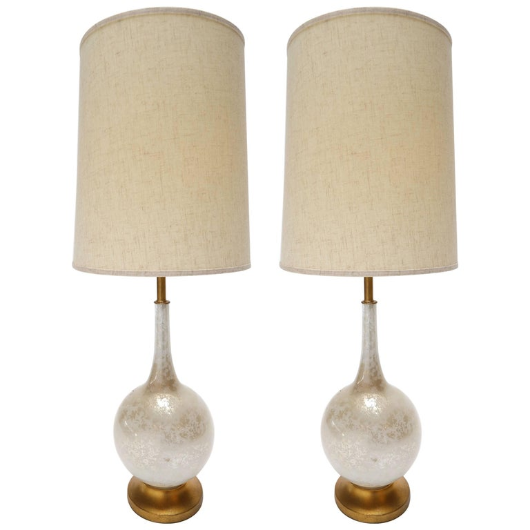 Pair of 1960s Murano Glass Table Lamps with Brass Base