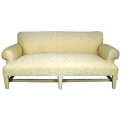 Donghia Loveseat Sofa in Cream and Yellow Fat Man Fabric Attributed to Angelo D