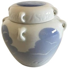 Royal Copenhagen Lidded Jar with Seagull and Ship Motif and Tiny Handles