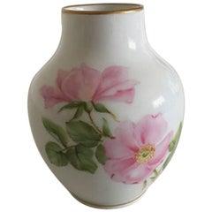 Royal Copenhagen Art Nouveau Vase #23 with Rose Motif and Gold