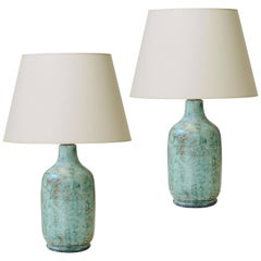 Pair of Table Lamps with Stylish Green Tint Enameling by Vallauris Ceramist