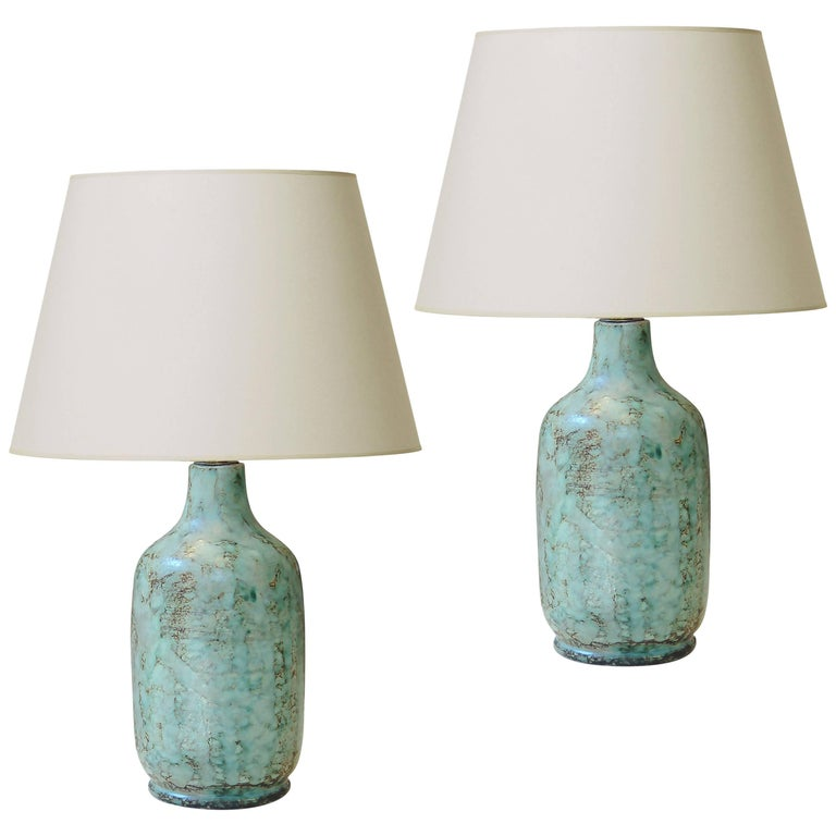 Pair of Table Lamps with Stylish Green Tint Enameling by Vallauris Ceramist For Sale