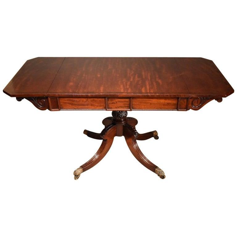 Regency Mahogany Sofa Table on Central Pedestal