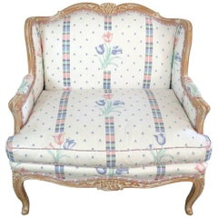 Distressed Painted French Louis XV Style Bergere Marquis Chair