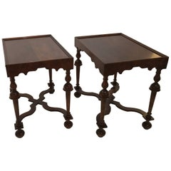 Pair of Baker Furniture Jacobean Style Walnut Tables