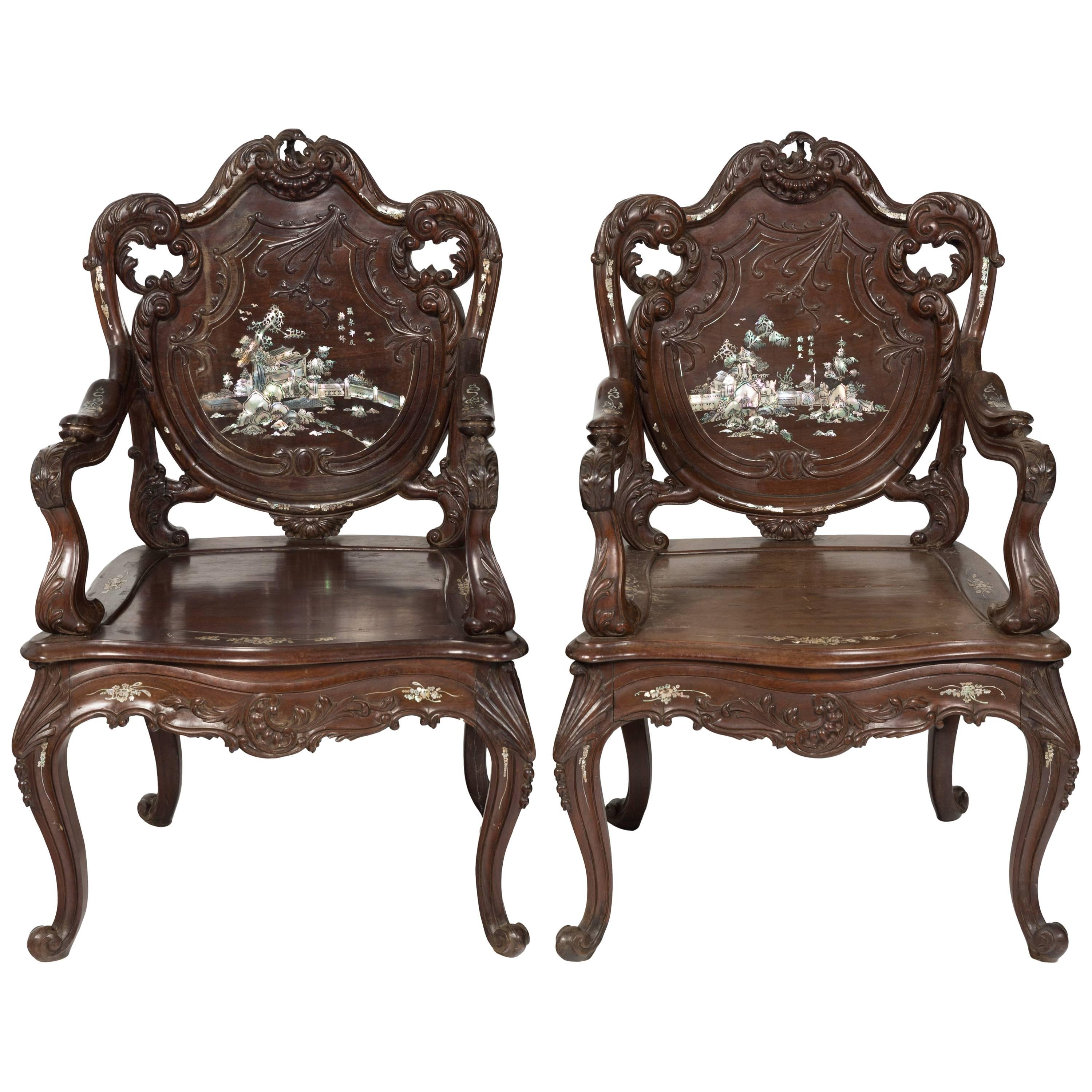 Pair Of 1960s Asian Carved Rosewood Chairs With Mother Of Pearl Inlay For  Sale