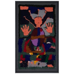 Handmade Tapestry Earth Colors with Synbolic Patterns Such as Hand Protection