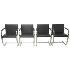 Set Four Mies Van Der Rohe for Knoll Brno Chairs Black Leather Flat Bar Chrome