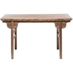 Mid-19th Century Chinese Writing Table with Cloud Form Spandrels