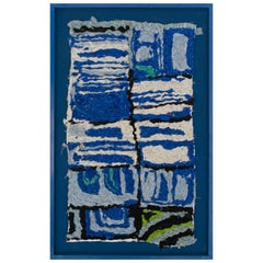 Small Handmade Zindekh Tapestry an Ocean of Blue for a Representation of the Sky