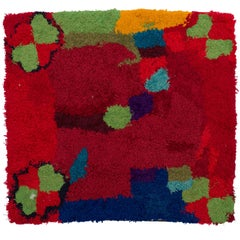 Handmade Zindekh Tapestry, in an Harmony of Red and Hearts of Green