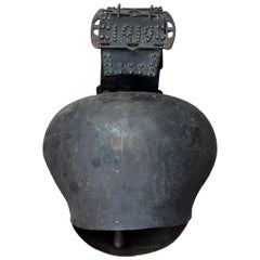 Huge Antique Leather and Metal Cow Bell