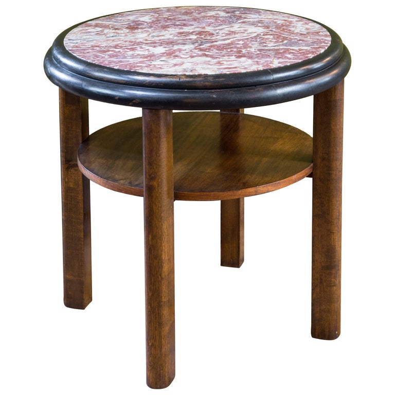 French Round Art Deco Mahogany Side Table with Red Marble Top, circa 1920