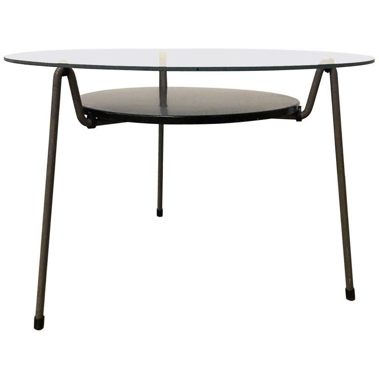 1953, Wim Rietveld for Gispen, Grey Black Mug Coffee Table 535 with Glass Top