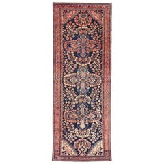 Vintage Persian Kasvin Hamadan Runner with Sarouk Design, Hallway Runner