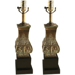 Pair of Brass Pepe Mendoza Style Lamps
