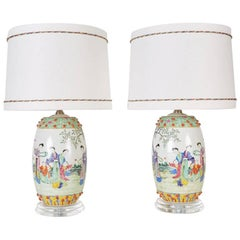 Pair of Chinese Drum Shaped Decorative Porcelains Custom Mounted as Lamps