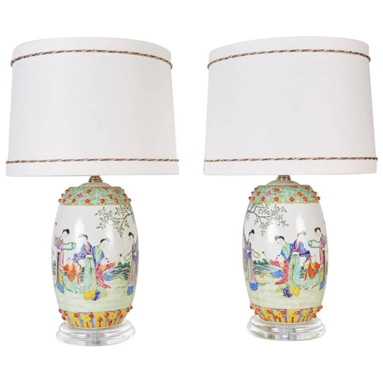 Pair of Chinese Drum Shaped Decorative Porcelains Custom Mounted as Lamps For Sale