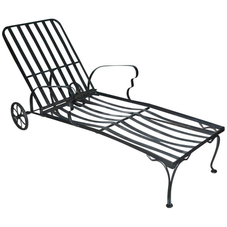 Black Steel Patio Chaise Longue
