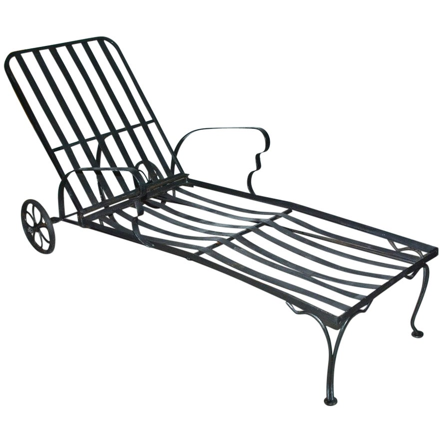 Black Steel Patio Chaise Longue