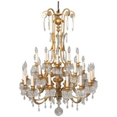 Early 20th Century Gilt Bronze and Drop Crystal Twenty Five Light Chandelier