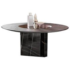 Gallotti & Radice Platium W Round Table in Marble, Wood & Glass with Lazy Susan