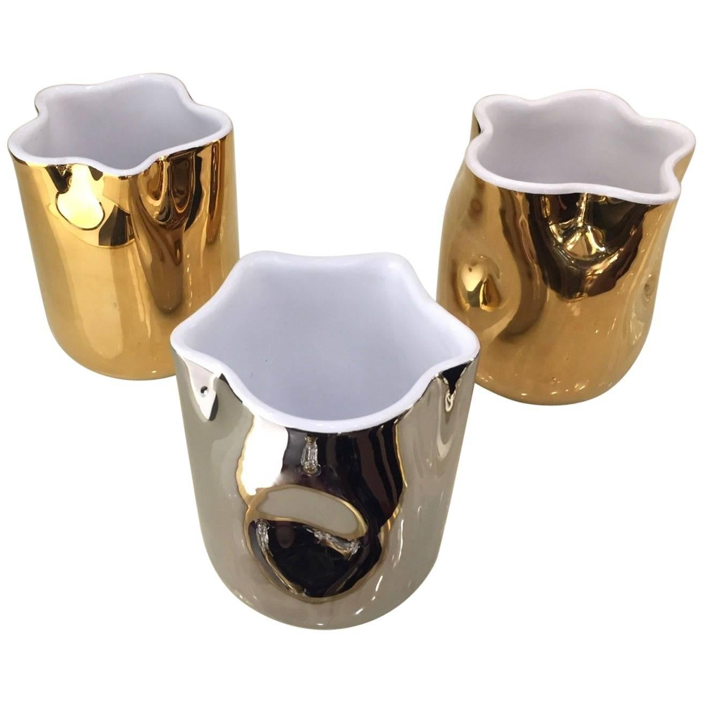 Contemporary Italian White Ceramic Tumblers Decorated with Pure Platinum or Gold