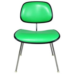 Eames Herman Miller Padded EC-127 DCM Chair in Black with Kelly Green Naugahyde