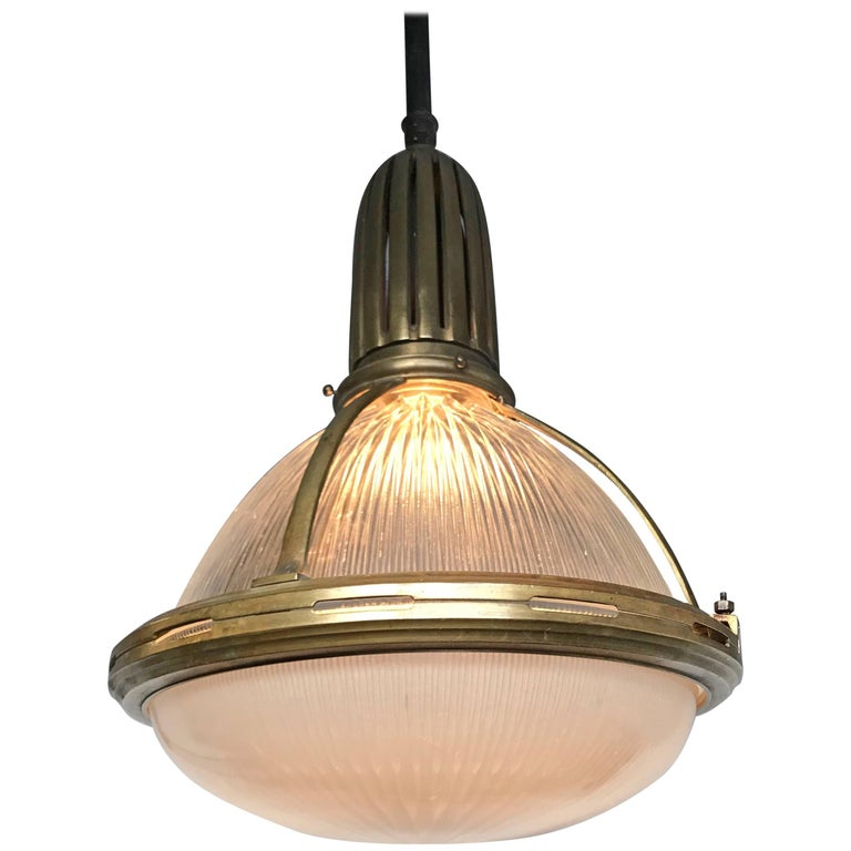 Large & Marked Industrial Arts & Crafts Holophane Bronze and Glass Pendant  For Sale