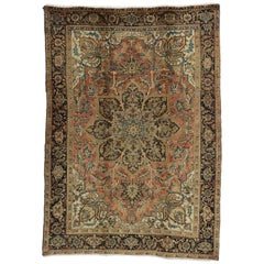 Traditional Vintage Persian Heriz Rug with Colonial Revival Style