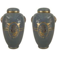 Pair of French 1930s White Ceramic Ginger Jars
