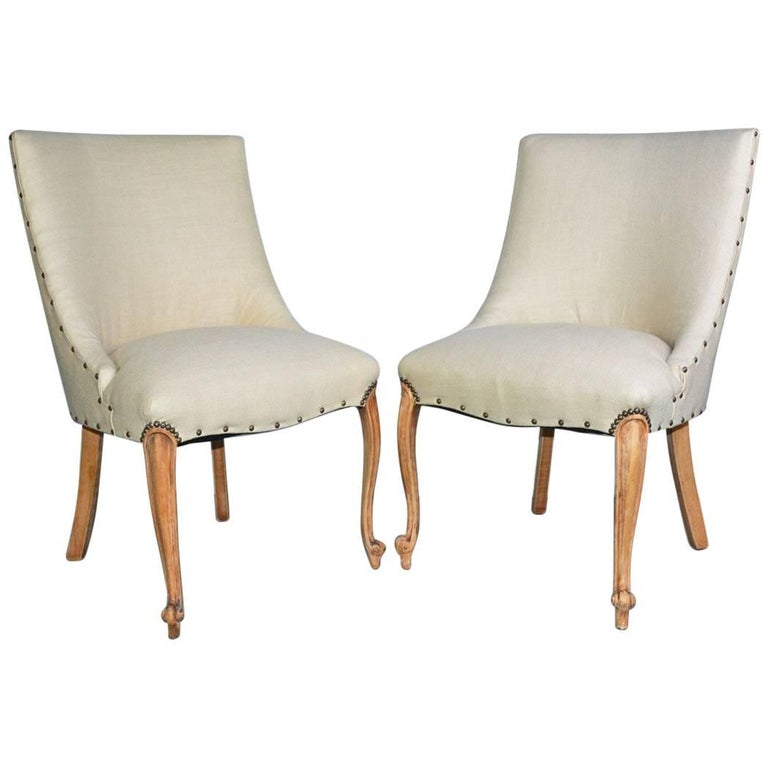 Pair of French Louis XV Style Slipper Chairs