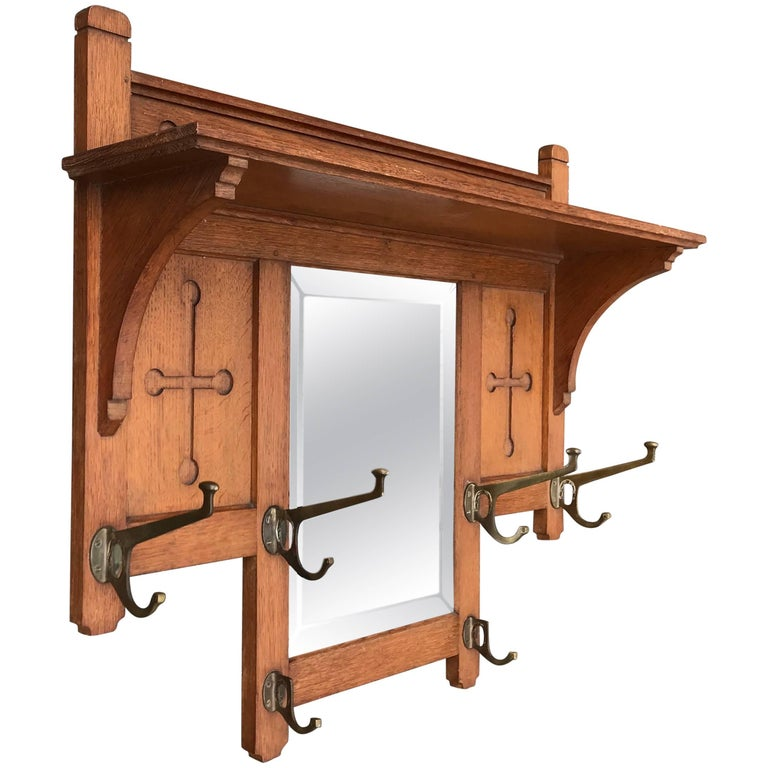 Large Hand-Carved Arts & Crafts Solid Oak and Brass Coat Rack W. Beveled Mirror